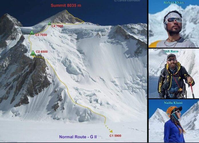 Serbaz Khan and his teem climbed Gashaburom 2