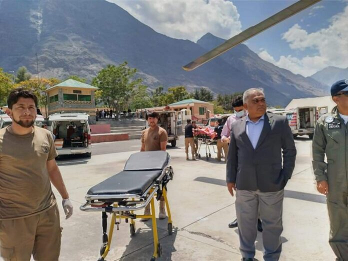 People injured in Kohistan blast are being shifted to Gilgit by helicopter